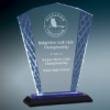 Blue Accent Fan Glass Award with Black Base Cobalt Awards