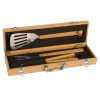 3-Piece Bamboo BBQ Set in Bamboo Case Cooking
