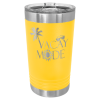 16 Oz Yellow & Silver Coated Ringneck Pint Tumbler with Lid   Drinkware