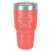 30 Oz Coral & Silver Coated Ringneck Tumbler with Lid  Drinkware