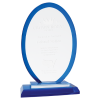A New Item! Oval Blue Regal Glass Award    Fire, Police and Safety