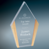 Clear Diamond Acrylic with Gold Edges Gold Colored Acrylic Awards