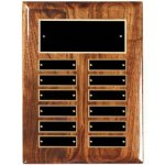 Piano Finish Walnut Perpetual Plaque with Black Plates 12 Monthl Perpetual Plaques