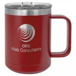 15 oz. Stainless Steel Polar Camel Mug - Maroon 15 oz. Vacuum Insulated Mug with Slider Lid