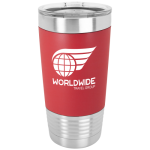 Red/White Polar Camel Tumbler with Silicone Grip and Clear Lid   20 oz. Polar Camel Tumblers