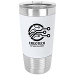 White/Black Polar Camel Tumbler with Silicone Grip and Clear Lid   20 oz. Polar Camel Tumblers