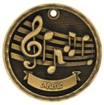 Music 3-D Medal 3-D Medallion