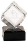 Clear Crystal Cube on Black Pedestal Base A Great Value - Crystal Awards under $50