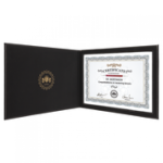 Leatherette Certificate Portfolio - Black/Gold Academic Excellence Awards