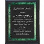 Black Pianowood Plaque with Green Galaxy Acrylic Plate Acrylic and Glass Golf Awards
