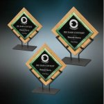 Galaxy Acrylic & Bamboo Plaques with Stand - Green Acrylic and Glass Golf Awards