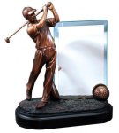 Golf Driver (Male) with Glass Panel - Bronze Resin Sculpture Acrylic and Glass Golf Awards