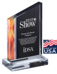 Deco Series Acrylic Award - Orange Flame Wedge Acrylic Awards Made in the USA