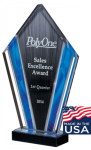 Deco Series Acrylic Award - Blue Flame Diamond Acrylic Awards Made in the USA