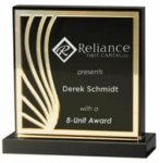 Mirror Deco Silhouette Series Acrylic Award - Gold Square Acrylic Awards Made in the USA