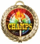 Laurel Wreath Medal with Custom Disc - Brite Finish - 2.75  All Award Medals