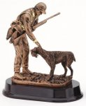 Hunter with Dog - Bronze Resin Sculpture Animal, Hunting and Fishing Award Trophies