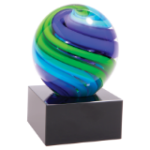 Two-Tone Blue & Green Sphere Art Glass   Art Glass Under  $50