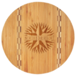 Bamboo Cutting Board with Butcher Block Inlay - Round Bamboo and Cork Eco-Friendly Items