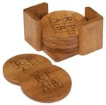 Coaster Set Round Bamboo and Cork Eco-Friendly Items