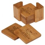 Coaster Set Square Bamboo and Cork Eco-Friendly Items