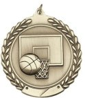 Basketball - Die Cast Wreath Medallion Basketball Medals
