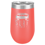 16 Oz Coral Coated Stemless Tumbler    Beer and Cocktail Glasses