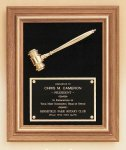 Walnut Frame Gavel Plaque Black and Ebony Gavels and Plaques