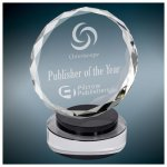 Round Facet Crystal on Black & Clear Round Base Black Base Awards
