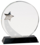 Shooting Star Circle on Black Base - Optical Crystal Black Base Awards