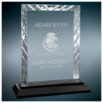 Accent Rectangle Glass Award with Black Base   Black Glass and Black Base Awards