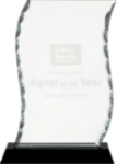 A Best Seller! Facet Scroll Glass Award with Black Base  Black Glass and Black Base Awards