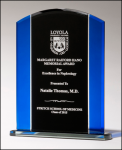 Black and Blue Arch Glass Award Black Glass and Black Base Awards