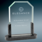 Z Clipped Corners Glass with Black Marble Base Black Glass and Black Base Awards