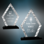Accent Diamond Glass Award with Black Base Black Glass and Black Base Awards
