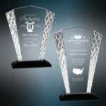 Accent Fan Glass Award with Black Base Black Glass and Black Base Awards