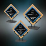Galaxy Acrylic & Bamboo Plaques with Stand - Blue Blue Acrylic Awards