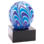 Two-Tone Blue & White Sphere Art Glass Blue Art Glass