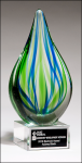 Droplet-Shaped Blue and Green Art Glass Award with Clear Glass Base Blue Art Glass