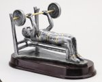 Weightlifting, Bench (Female) - Silver Sculpture Resin Body Building and Weightlifting Award Trohpies