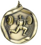 Weight Lifter (Male) - Ribbon Medallion Body Building and Weightlifting Award Trohpies