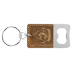 Bottle Opener Key Ring - Rectangle Leatherette Bottle Openers and Key Chains