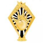 Bowling Black and Gold Sunrise Figure on Round Base      Bowling Award Trophies