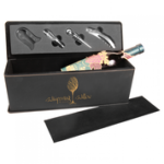Laserable Leatherette Wine Box with Tools - Black/Gold Boxes