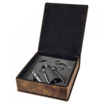 Laserable Leatherette 3-Piece Wine Tool Gift Set - Rustic/Gold Boxes