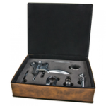 Laserable Leatherette 5-Piece Wine Tool Gift Set - Rustic/Gold Boxes