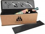 Laserable Leatherette Wine Box with Tools - Light Brown Boxes