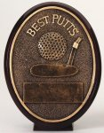 Best Putts - Bronze Oval Golf Resin Bronze Golf Resin Awards