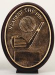 Nearest the Pin - Bronze  Oval Golf Resin Bronze Resin Awards