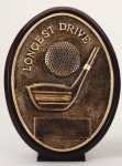 Longest Drive - Bronze  Oval Golf Resin Bronze Resin Awards
